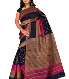 Buy Navy Blue printed art_silk saree with blouse bhagalpuri-silk-saree online