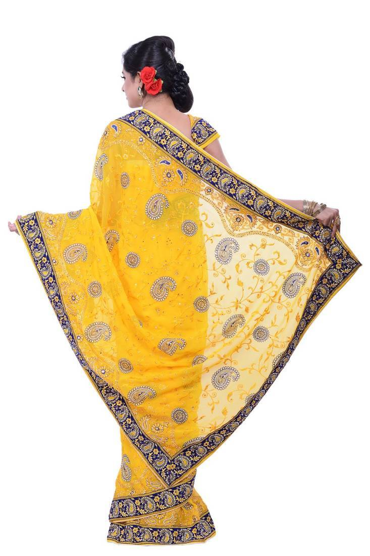 Buy YELLOW embroidered silk saree with blouse Online