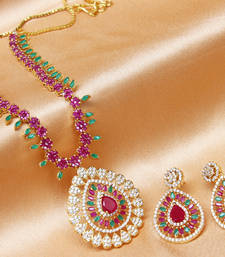 Buy Gorgeous high gold plated CZ  designer  Ruby   necklace set necklace-set online
