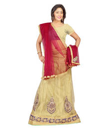 Buy Beige embroidered Net unstitched lehenga-choli lehenga-choli online