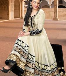 Buy Cream embroidered georgette semi stitched salwar with dupatta party-wear-salwar-kameez online