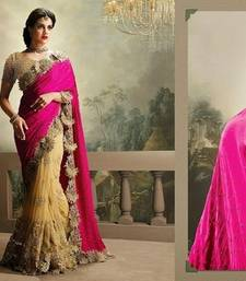 Buy pink and chiku embroidered chinon and net saree with blouse net-saree online