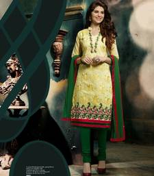 Buy Yellow and Green embroidered Chanderi unstitched salwar with dupatta dress-material online