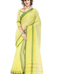 Buy Yellow and Green Plain Cotton Saree with Blouse cotton-saree online