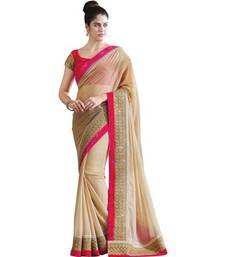 Buy Beige embroidered chiffon saree with blouse other-actress-saree online