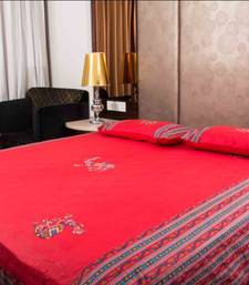 Buy Pure Cotton Red Color Camel Patch Wok Sanganeri Double Bedsheet bed-sheet online