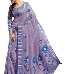 Buy Purple embroidered cotton saree with blouse cotton-saree online