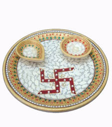 Buy Marble pooja thali for Diwali other-home-accessory online