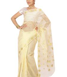 Buy Off white woven cotton saree with blouse kota-silk-saree online