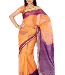 Orange  and  Purple woven cotton saree with blouse shop online