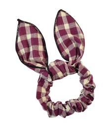 Buy Checked Maroon Fabric Hair Rubber Band for Women Other online