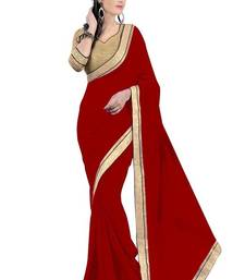 Buy Red Fancy Embroidered  Georgette  Saree With Blouse party-wear-saree online