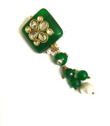 Buy green kundan work saree pin brooch online