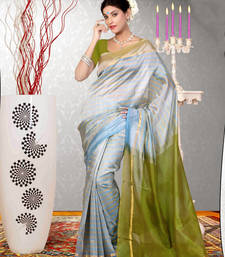 White woven dupion silk saree with blouse shop online