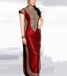 Buy Red embroidered silk semi stitched salwar with dupatta party-wear-salwar-kameez online
