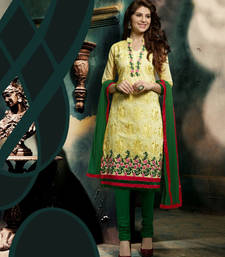 Buy NEW DESIGNER YELLOW AND GREEN STRAIGHT SUIT salwars-and-churidar online