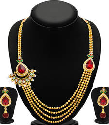 Buy Glittery Four Strings Gold Plated Necklace Set necklace-set online