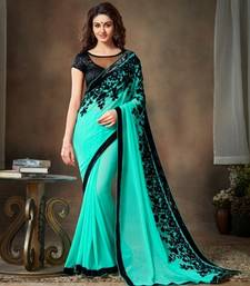 sky blue embroidered georgette saree with blouse shop online