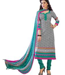Buy White printed Crepe unstitched salwar with dupatta dress-material online