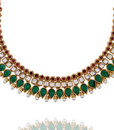 Buy Maroon Green High Gold Polish Princess Choker Set with Pearls necklace-set online