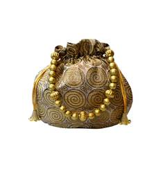 Buy brocade small ethnic potli (Gold) potli-bag online