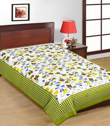 Buy Green Color Floral Print Pure Cotton Single Bedsheet bed-sheet online