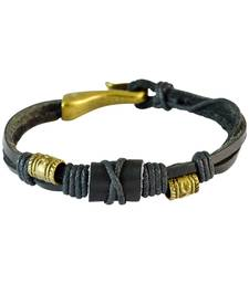 Buy Men  Leather Bracelet Black color for Everyday wear Bracelet online