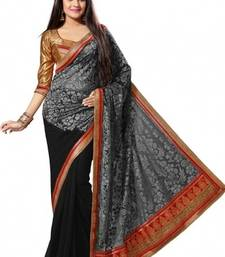 Buy Gray and Black embroidered brocade saree with blouse brasso-saree online