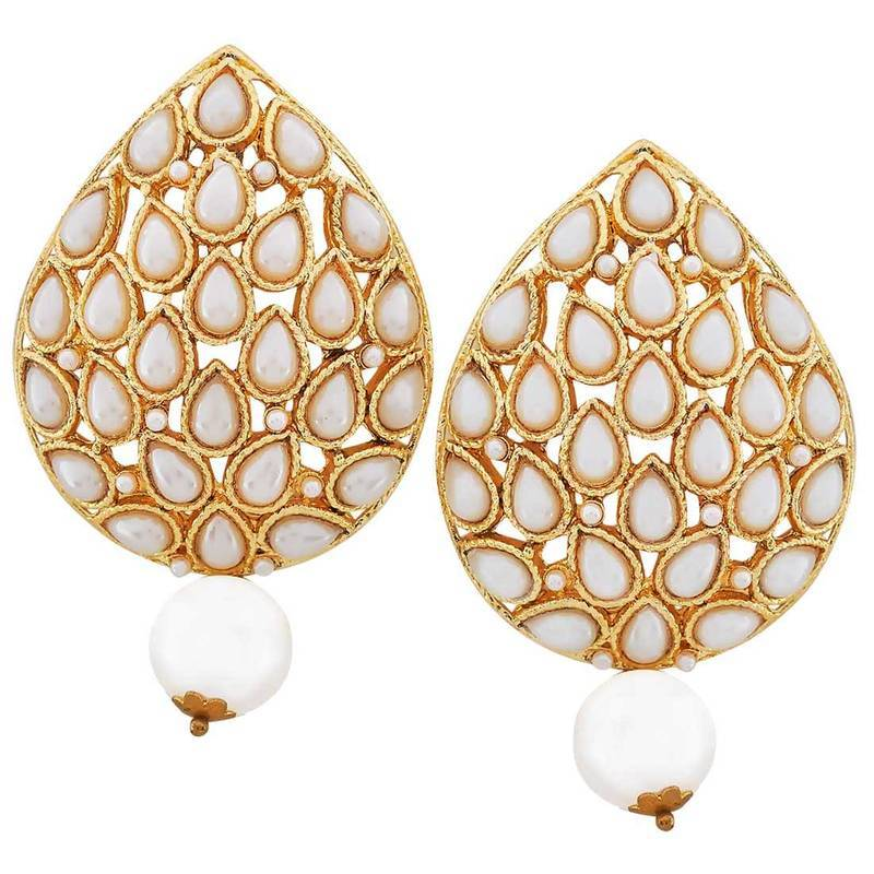 Modern Jewelry Design Ideas: Buy Indian Ethnic Jewelry Modern Pearl Drop Earrings White