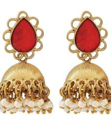 Buy Indian Wedding Jewelry Charming Crystal Jhumki Earrings Wine White jhumka online