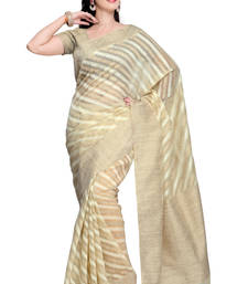 Buy Cream Cotton and Khadi Silk Saree with Khadi Silk saree with blouse south-indian-saree online