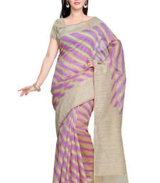 Buy Beige Cotton and Khadi Silk Saree with Khadi Silk saree with blouse cotton-saree online