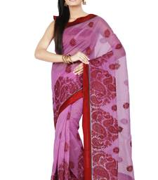Buy Lavender embroidered Supernet saree with blouse supernet-saree online