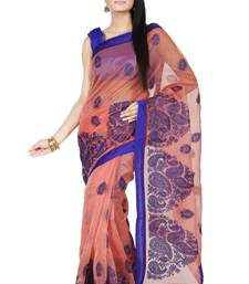 Buy Peach embroidered Supernet saree with blouse supernet-saree online