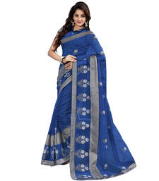 Buy Blue Embroidered chanderi saree with blouse chanderi-saree online