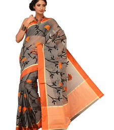 Buy Orange Embroidered supernet saree with blouse supernet-saree online