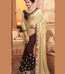 Buy Beige  and  Brown embroidered georgette saree with blouse half-saree online