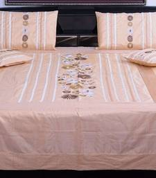 Buy 5 Piece Beige Jaipuri Silk Double Bed Cover duvet-cover online