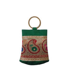 Buy Double Bangle Handbag with Multy Brocade Patch (Green) handbag online