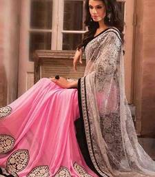 Buy pink patch_work georgette saree with blouse bridal-saree online