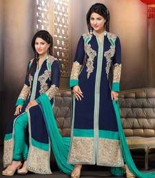 Buy Styles Closet Navy blue embroidered georgette semi stitched salwar with dupatta black-friday-deal-sale online