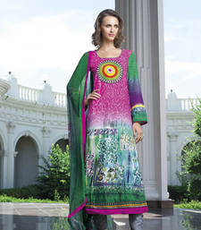 Buy Pink  and  Blue embroidered Cotton unstitched salwar with dupatta party-wear-salwar-kameez online