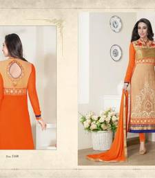 Buy Orange embroidered georgette semi stitched salwar with dupatta anarkali-salwar-kameez online