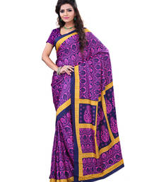 Buy Navy Blue  and  Pink printed Crepe saree with blouse crepe-saree online