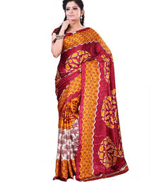 Buy Cream  and  Red printed Crepe saree with blouse crepe-saree online