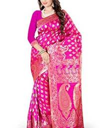 Buy pink plain art_silk saree with blouse banarasi-silk-saree online