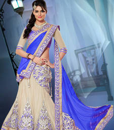 Blue Embroidered Net unstitched lehenga-choli shop online