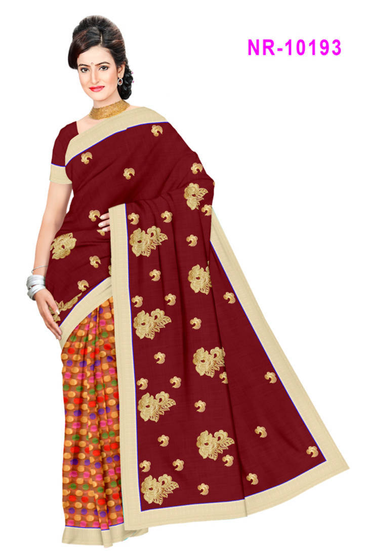 Buy Maroon Embroidered Cotton Saree With Blouse Online
