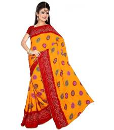 Buy Yellow  and  Red printed art-silk saree with blouse bandhani-sarees-bandhej online