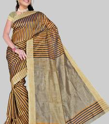 Buy MUSTARD KHICHA PATTI SAREE cotton-saree online